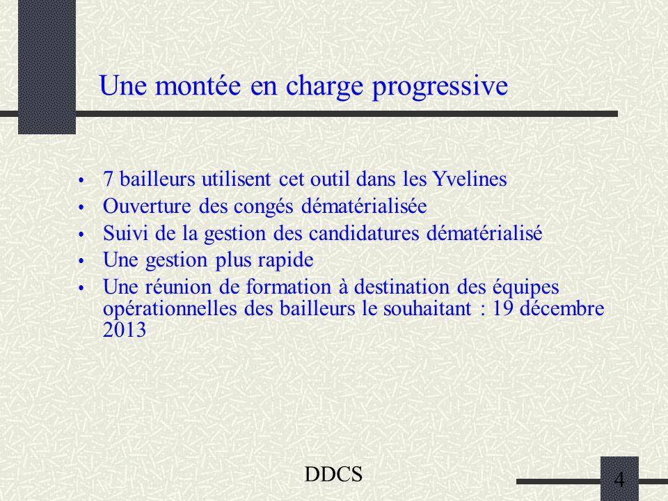 DDCS 4 Une montée en charge progressive 7 bailleurs utilisent cet outil dans les Yvelines Ouverture des congés dématérialisée Suivi de la gestion des
