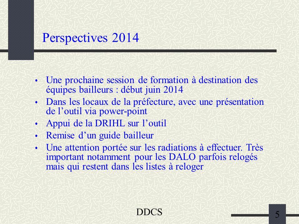 DDCS 5 Perspectives 2014 Une prochaine session de formation à destination des équipes bailleurs : début juin 2014 Dans les locaux de la préfecture, av