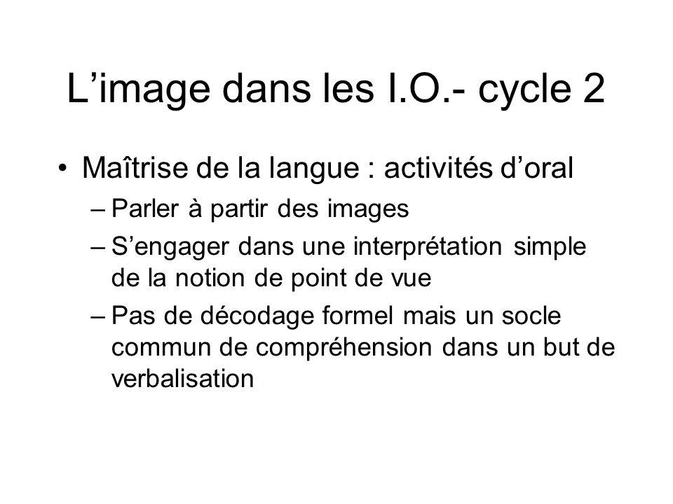 L'image dans les I.O.- cycle 2 Maîtrise de la langue : activités d'oral –Parler à partir des images –S'engager dans une interprétation simple de la no