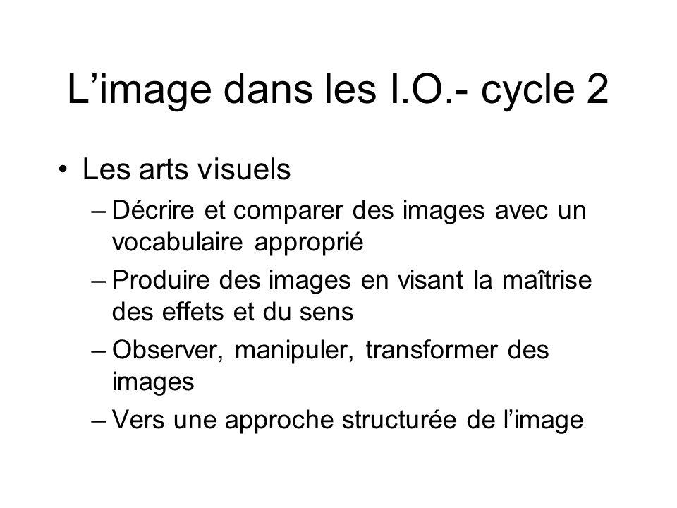 L'image dans les I.O.- cycle 2 Les arts visuels –Décrire et comparer des images avec un vocabulaire approprié –Produire des images en visant la maîtri