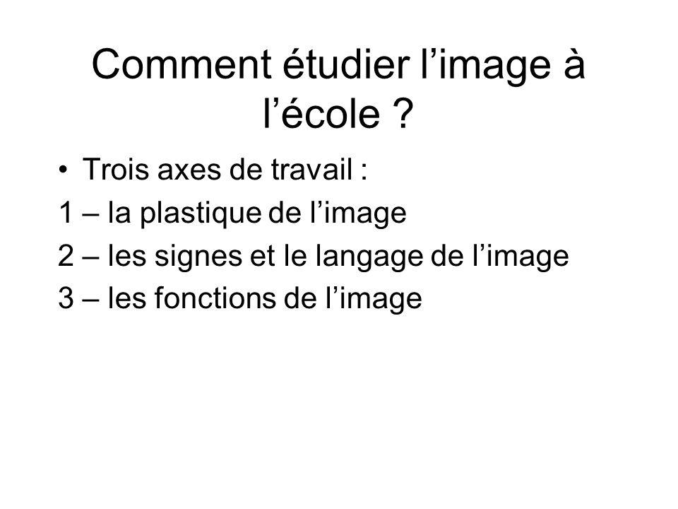 Comment étudier l'image à l'école ? Trois axes de travail : 1 – la plastique de l'image 2 – les signes et le langage de l'image 3 – les fonctions de l