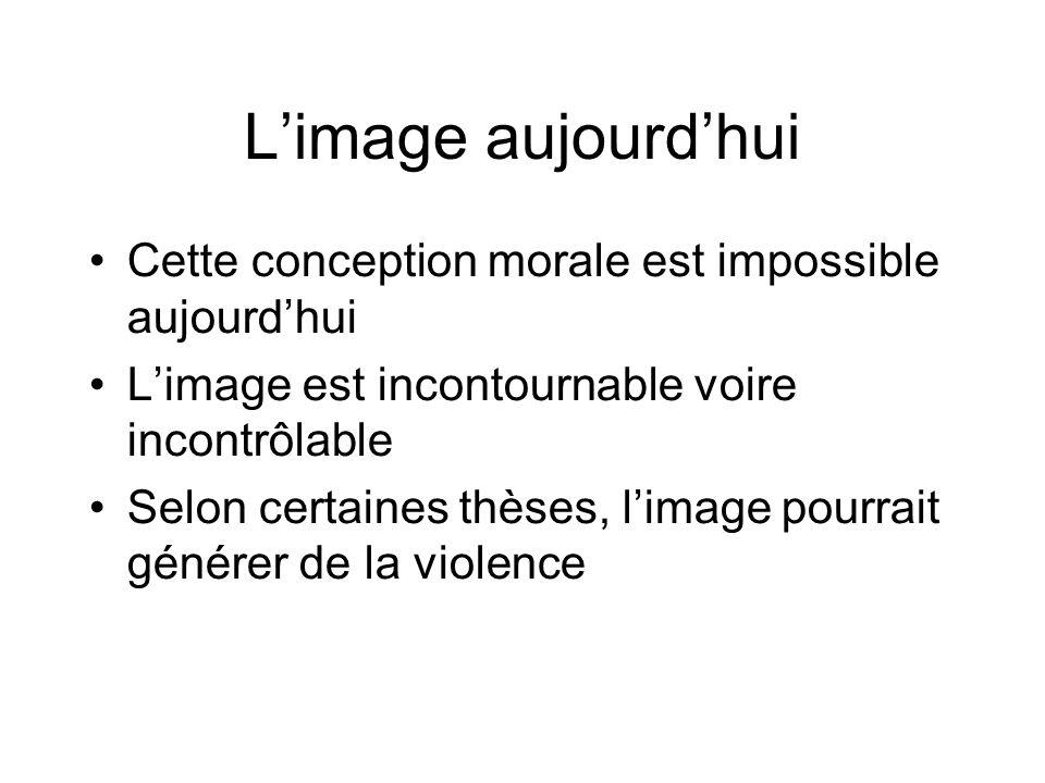 L'image aujourd'hui Cette conception morale est impossible aujourd'hui L'image est incontournable voire incontrôlable Selon certaines thèses, l'image