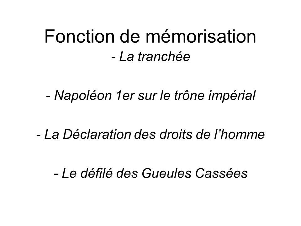 Fonction de mémorisation - La tranchée - Napoléon 1er sur le trône impérial - La Déclaration des droits de l'homme - Le défilé des Gueules Cassées