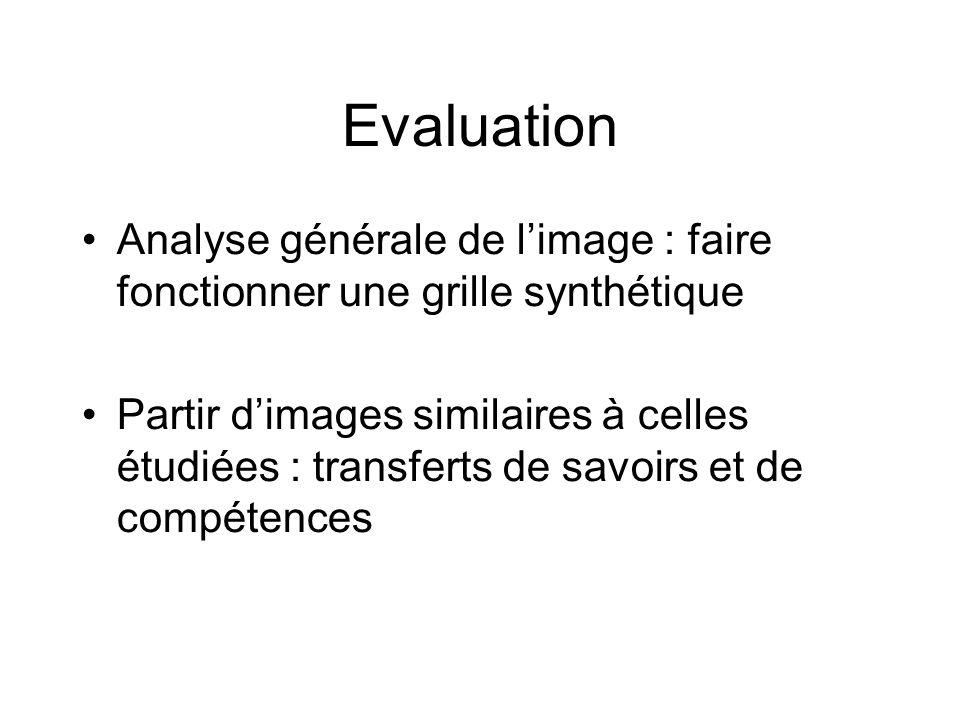 Evaluation Analyse générale de l'image : faire fonctionner une grille synthétique Partir d'images similaires à celles étudiées : transferts de savoirs