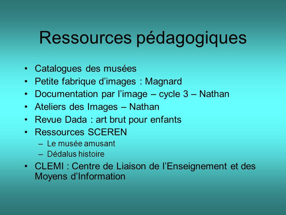 Ressources pédagogiques Catalogues des musées Petite fabrique d'images : Magnard Documentation par l'image – cycle 3 – Nathan Ateliers des Images – Na