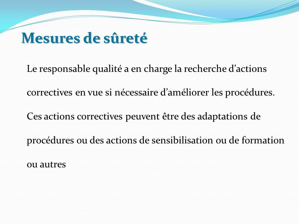 Le responsable qualité a en charge la recherche d'actions correctives en vue si nécessaire d'améliorer les procédures. Ces actions correctives peuvent
