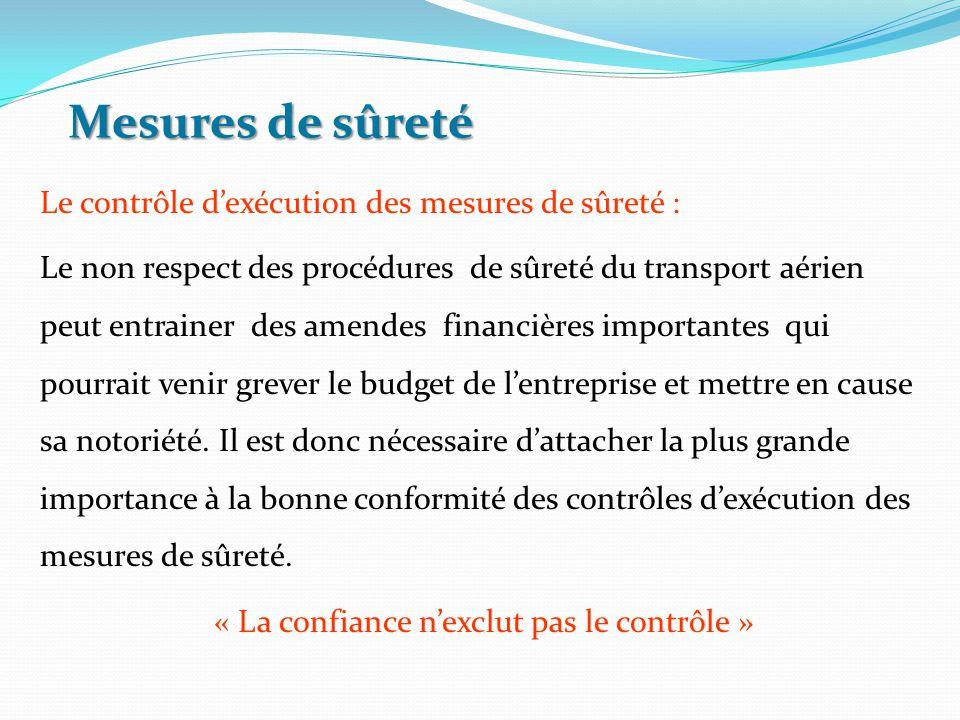 Le contrôle d'exécution des mesures de sûreté : Le non respect des procédures de sûreté du transport aérien peut entrainer des amendes financières imp