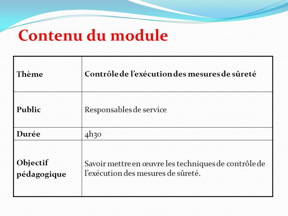Contenu du module ThèmeContrôle de l'exécution des mesures de sûreté PublicResponsables de service Durée4h30 Objectif pédagogique Savoir mettre en œuv