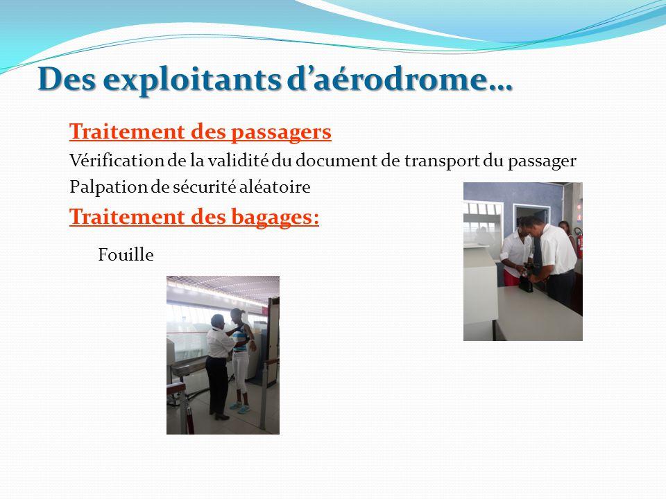 Des exploitants d'aérodrome… Traitement des passagers Vérification de la validité du document de transport du passager Palpation de sécurité aléatoire