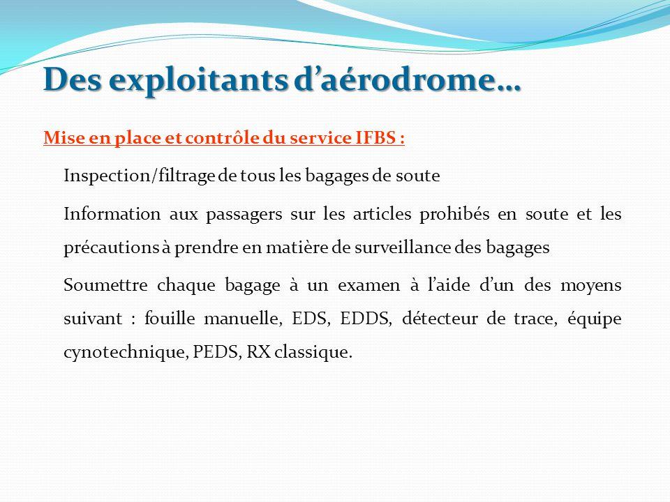 Des exploitants d'aérodrome… Mise en place et contrôle du service IFBS : Inspection/filtrage de tous les bagages de soute Information aux passagers su