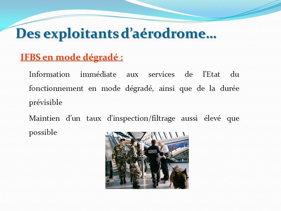 Des exploitants d'aérodrome… IFBS en mode dégradé : Information immédiate aux services de l'Etat du fonctionnement en mode dégradé, ainsi que de la du