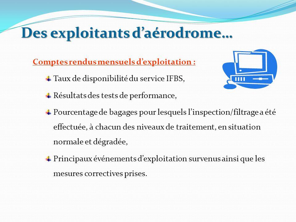 Des exploitants d'aérodrome… Comptes rendus mensuels d'exploitation : Taux de disponibilité du service IFBS, Résultats des tests de performance, Pourc