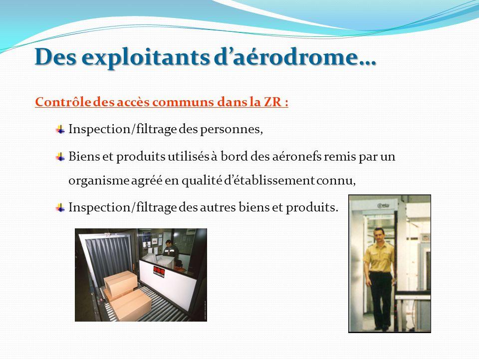 Des exploitants d'aérodrome… Contrôle des accès communs dans la ZR : Inspection/filtrage des personnes, Biens et produits utilisés à bord des aéronefs
