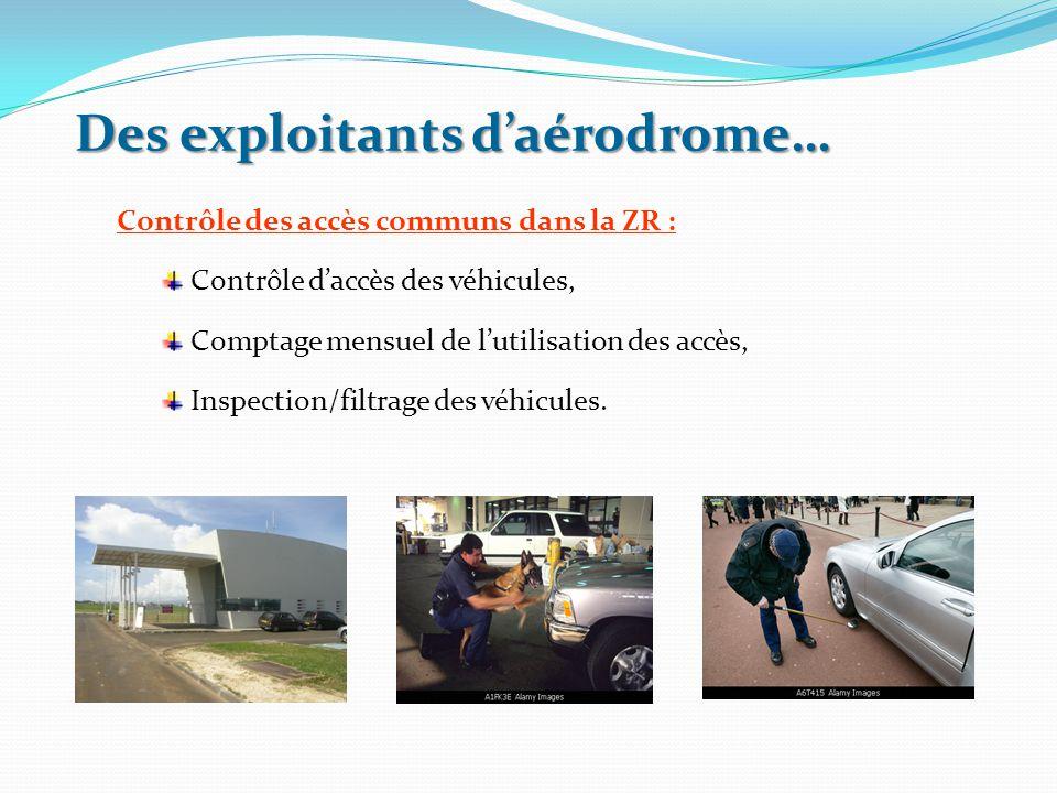 Des exploitants d'aérodrome… Contrôle des accès communs dans la ZR : Contrôle d'accès des véhicules, Comptage mensuel de l'utilisation des accès, Insp