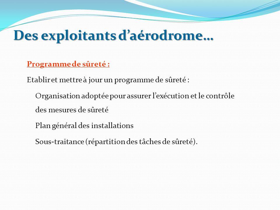 Des exploitants d'aérodrome… Programme de sûreté : Etablir et mettre à jour un programme de sûreté : Organisation adoptée pour assurer l'exécution et