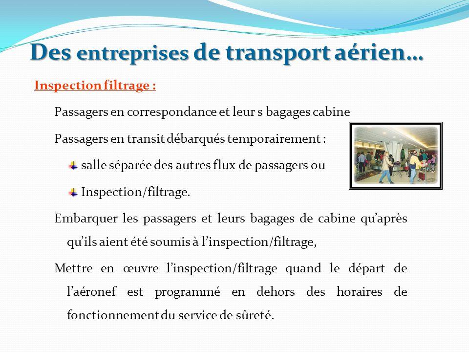 Inspection filtrage : Passagers en correspondance et leur s bagages cabine Passagers en transit débarqués temporairement : salle séparée des autres fl