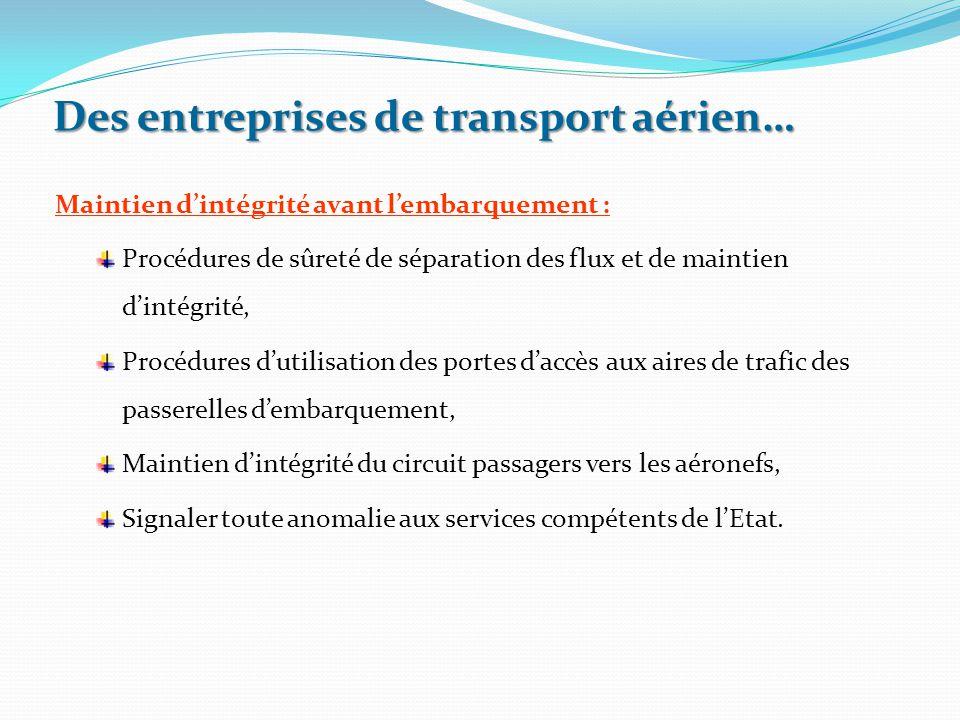 Maintien d'intégrité avant l'embarquement : Procédures de sûreté de séparation des flux et de maintien d'intégrité, Procédures d'utilisation des porte