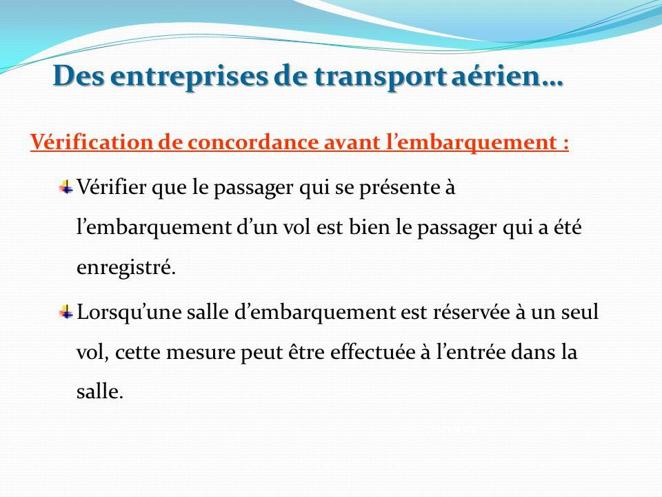 Des entreprises de transport aérien… Vérification de concordance avant l'embarquement : Vérifier que le passager qui se présente à l'embarquement d'un