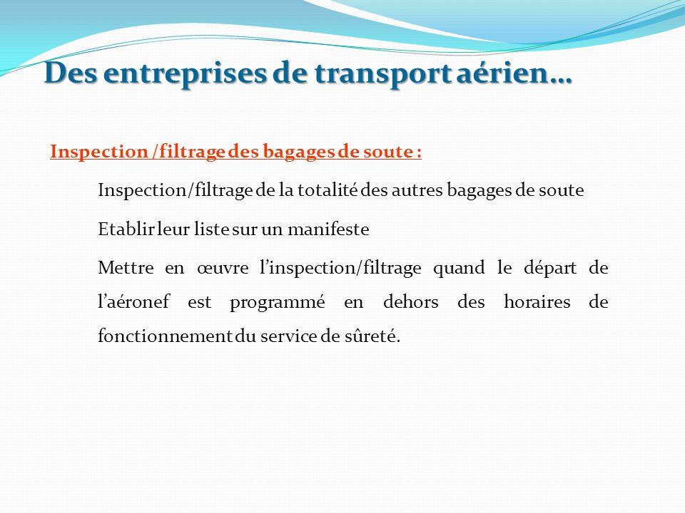 Inspection /filtrage des bagages de soute : Inspection/filtrage de la totalité des autres bagages de soute Etablir leur liste sur un manifeste Mettre