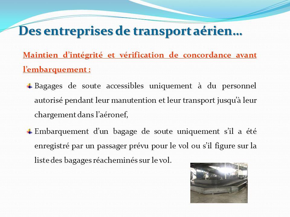 Maintien d'intégrité et vérification de concordance avant l'embarquement : Bagages de soute accessibles uniquement à du personnel autorisé pendant leu