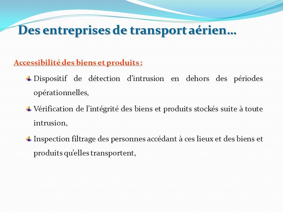 Accessibilité des biens et produits : Dispositif de détection d'intrusion en dehors des périodes opérationnelles, Vérification de l'intégrité des bien