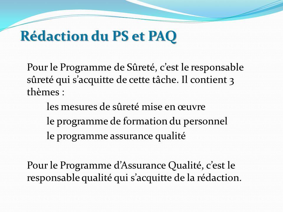 Rédaction du PS et PAQ Pour le Programme de Sûreté, c'est le responsable sûreté qui s'acquitte de cette tâche. Il contient 3 thèmes : les mesures de s