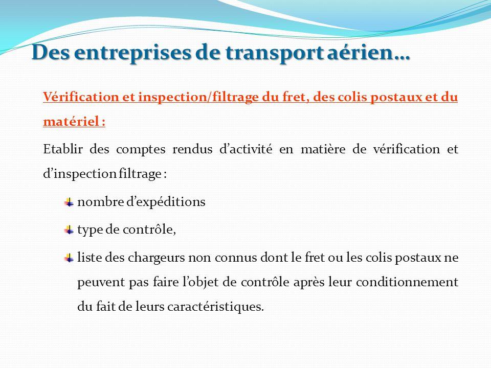 Vérification et inspection/filtrage du fret, des colis postaux et du matériel : Etablir des comptes rendus d'activité en matière de vérification et d'