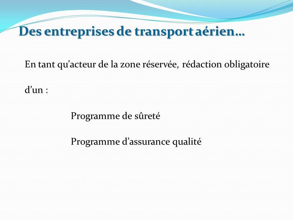 En tant qu'acteur de la zone réservée, rédaction obligatoire d'un : Programme de sûreté Programme d'assurance qualité Des entreprises de transport aér