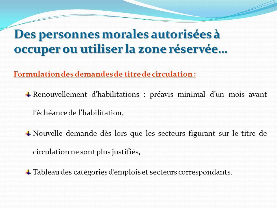Des personnes morales autorisées à occuper ou utiliser la zone réservée… Formulation des demandes de titre de circulation : Renouvellement d'habilitat