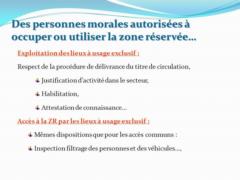 Exploitation des lieux à usage exclusif : Respect de la procédure de délivrance du titre de circulation, Justification d'activité dans le secteur, Hab