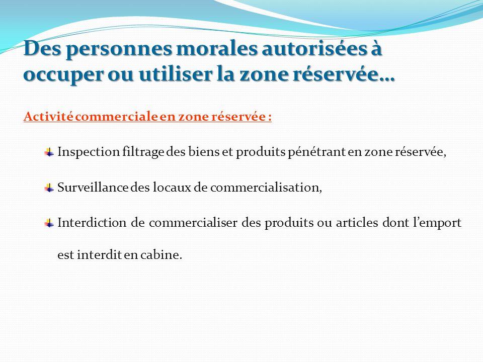 Activité commerciale en zone réservée : Inspection filtrage des biens et produits pénétrant en zone réservée, Surveillance des locaux de commercialisa