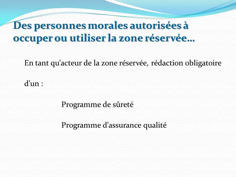 En tant qu'acteur de la zone réservée, rédaction obligatoire d'un : Programme de sûreté Programme d'assurance qualité