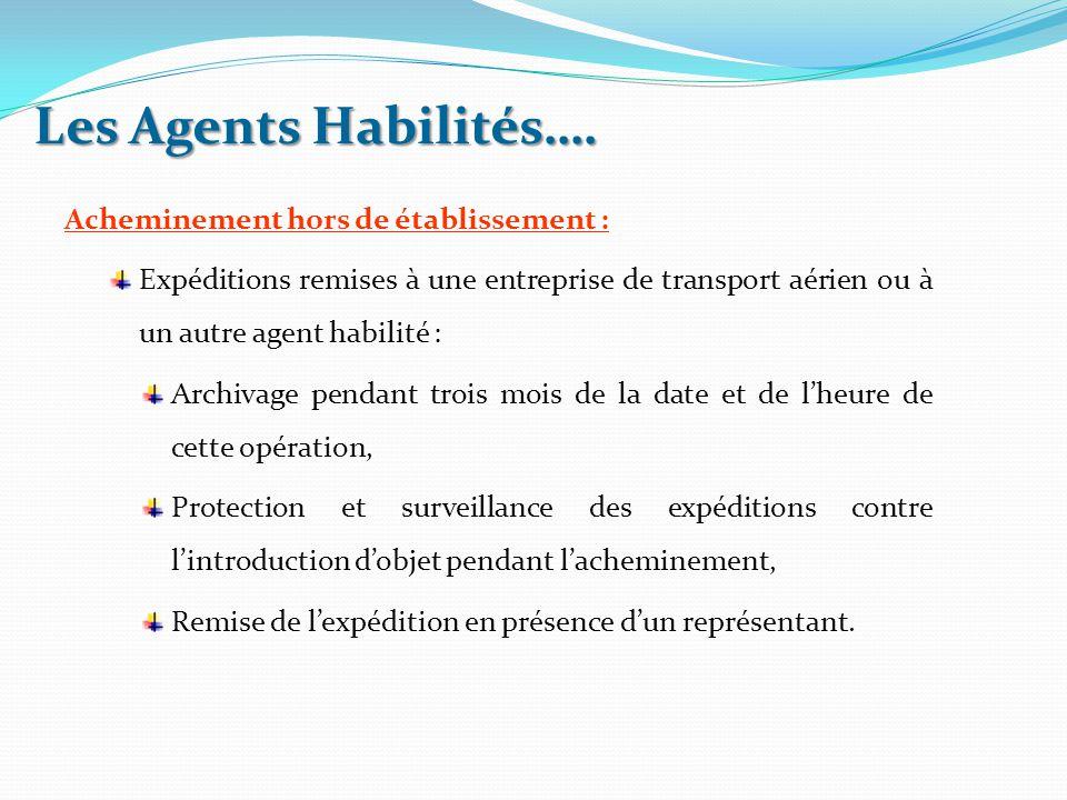 Acheminement hors de établissement : Expéditions remises à une entreprise de transport aérien ou à un autre agent habilité : Archivage pendant trois m