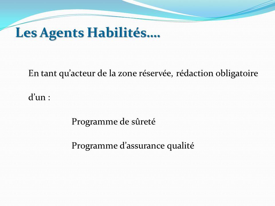 En tant qu'acteur de la zone réservée, rédaction obligatoire d'un : Programme de sûreté Programme d'assurance qualité Les Agents Habilités….