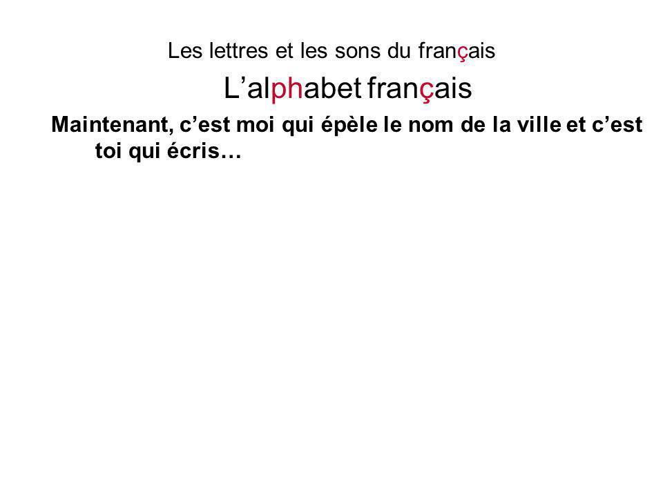 Les lettres et les sons du français L'alphabet français Maintenant, c'est moi qui épèle le nom de la ville et c'est toi qui écris…