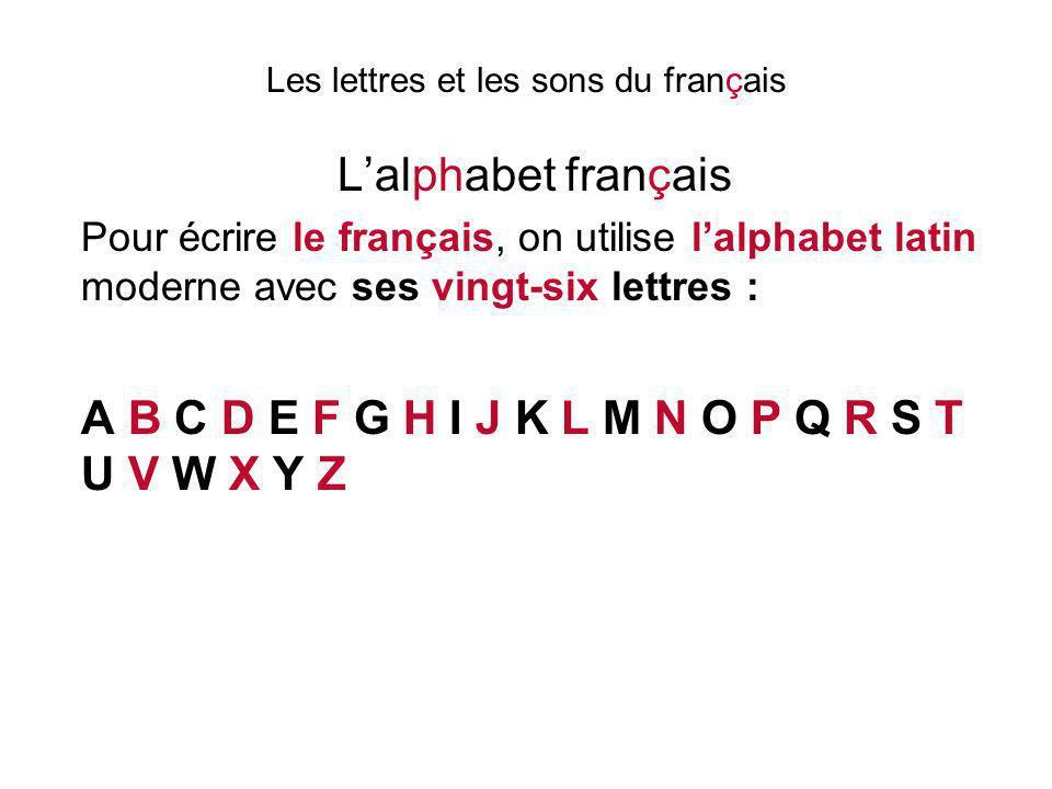 Les lettres et les sons du français L'alphabet français Le a se prononce [a] Le b se prononce [be] Le c se prononce [se] Le d se prononce [de] Le e se prononce [ø] Le f se prononce [èf] Le g se prononce [jé] Le h se prononce [ach] Le i se prononce [i] Le j se prononce [ji] Le k se prononce [ka]