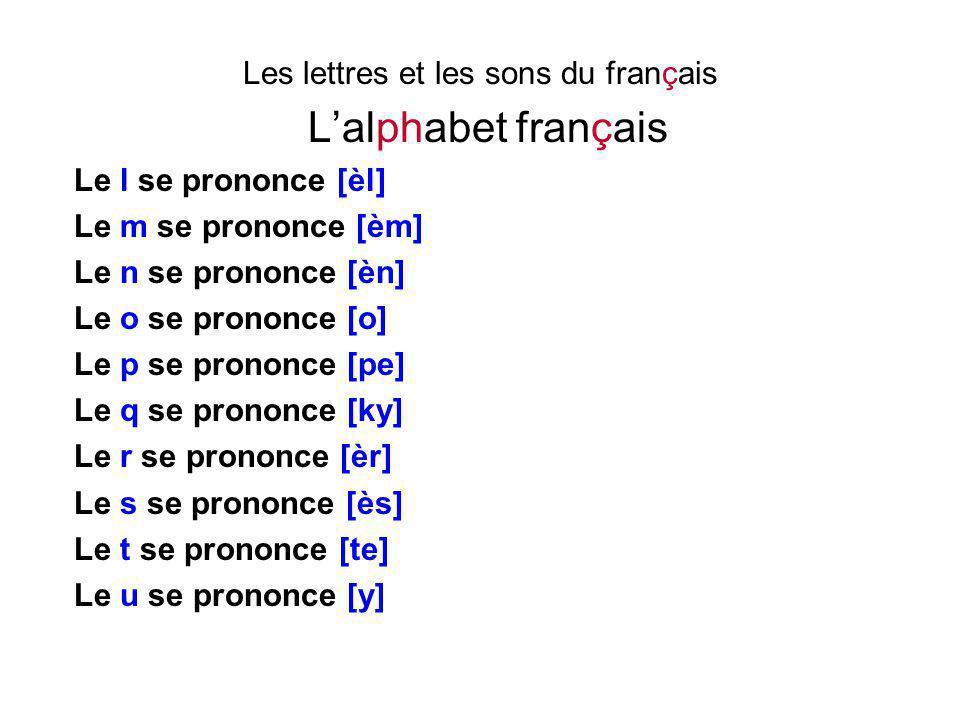 Les lettres et les sons du français L'alphabet français Le l se prononce [èl] Le m se prononce [èm] Le n se prononce [èn] Le o se prononce [o] Le p se