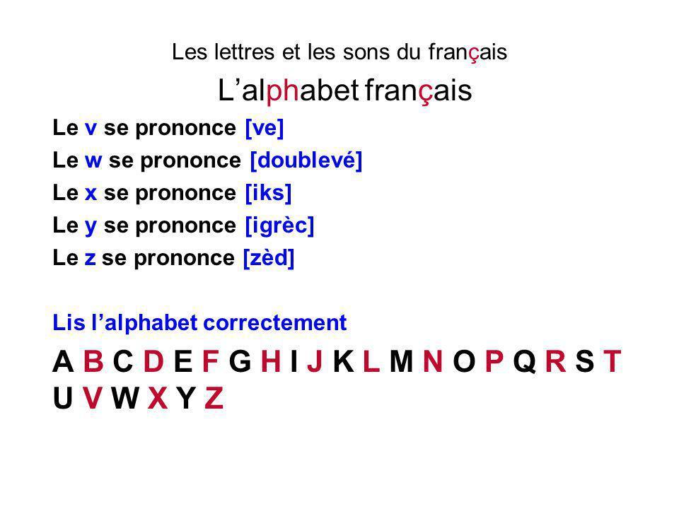 Les lettres et les sons du français L'alphabet français Le v se prononce [ve] Le w se prononce [doublevé] Le x se prononce [iks] Le y se prononce [igr
