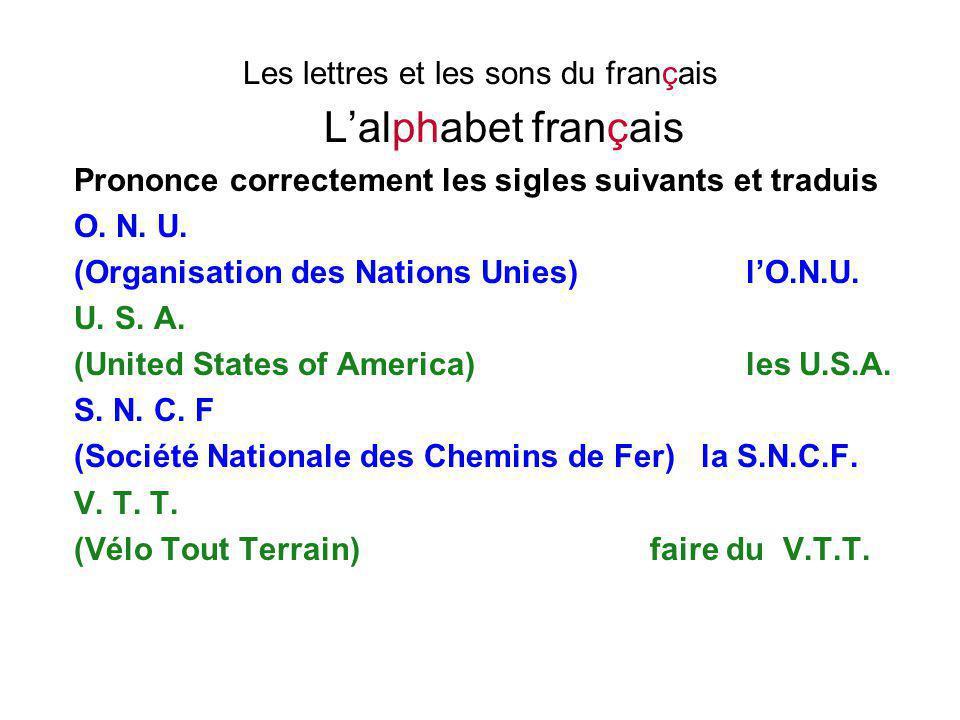 Les lettres et les sons du français L'alphabet français Prononce correctement les sigles suivants et traduis O. N. U. (Organisation des Nations Unies)