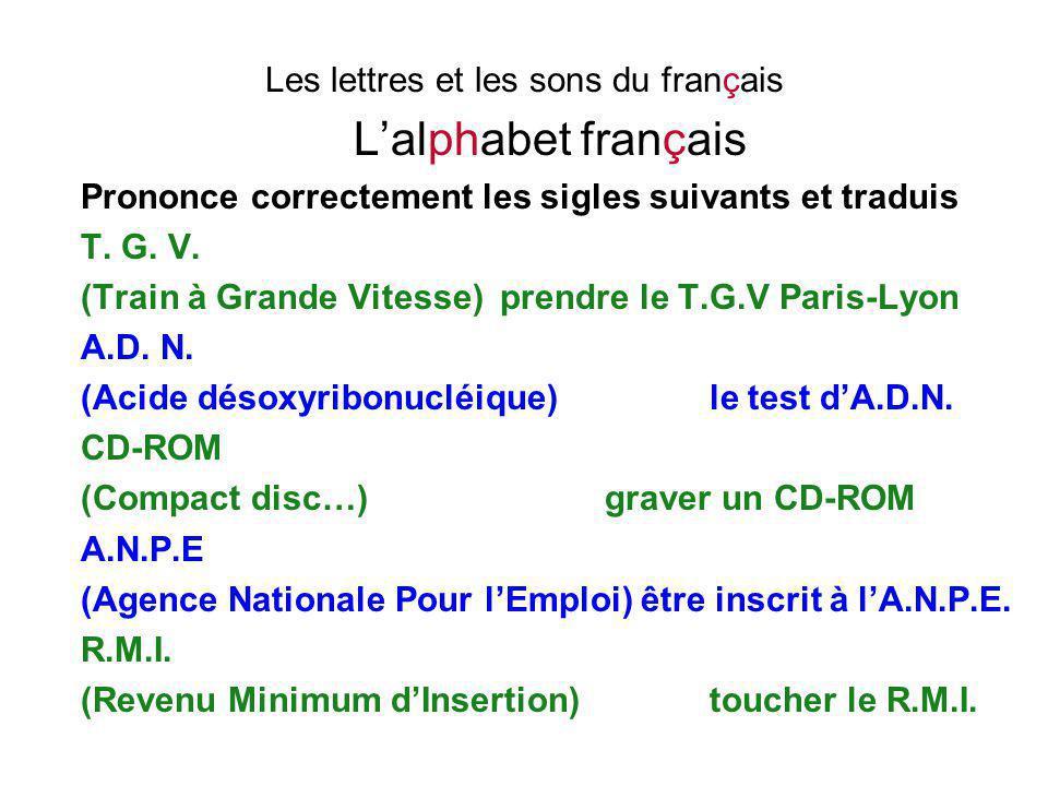Les lettres et les sons du français L'alphabet français Prononce correctement les sigles suivants et traduis T. G. V. (Train à Grande Vitesse)prendre