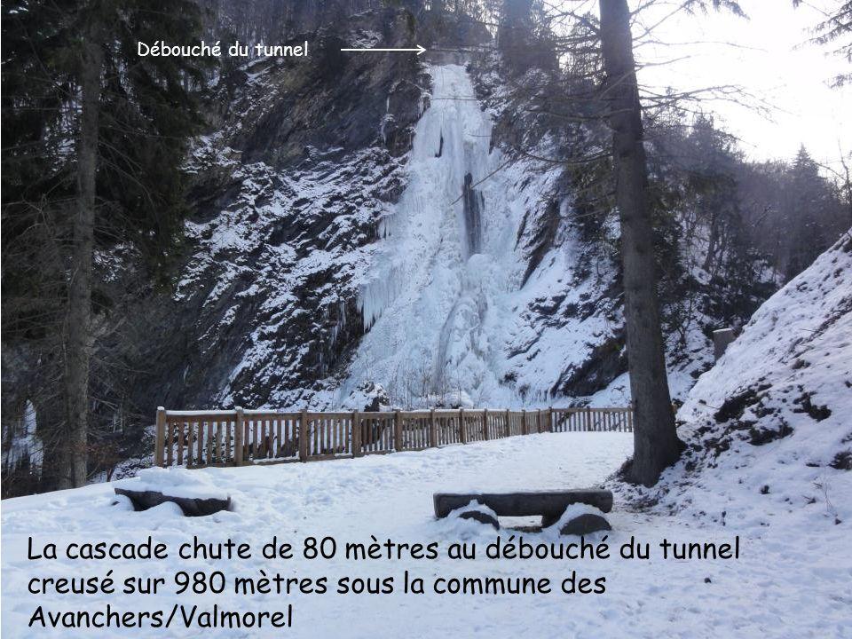 La cascade chute de 80 mètres au débouché du tunnel creusé sur 980 mètres sous la commune des Avanchers/Valmorel Débouché du tunnel