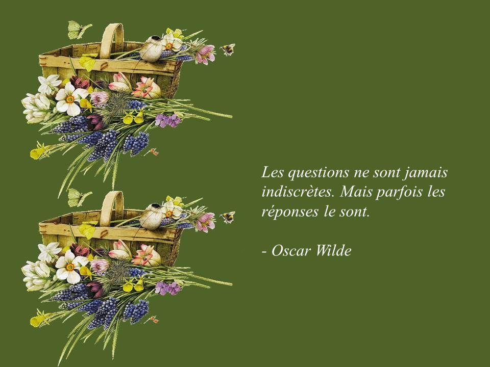 Les questions ne sont jamais indiscrètes. Mais parfois les réponses le sont. - Oscar Wilde