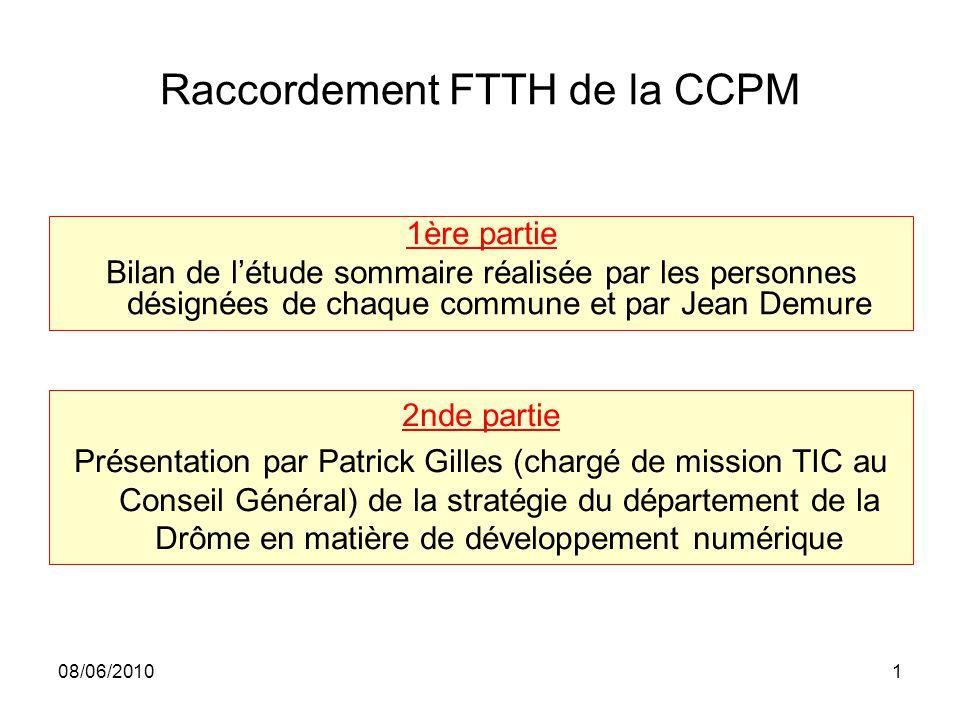 08/06/20101 Raccordement FTTH de la CCPM 1ère partie Bilan de l'étude sommaire réalisée par les personnes désignées de chaque commune et par Jean Demu