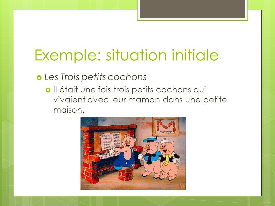 Exemple: situation initiale  Les Trois petits cochons  Il était une fois trois petits cochons qui vivaient avec leur maman dans une petite maison.