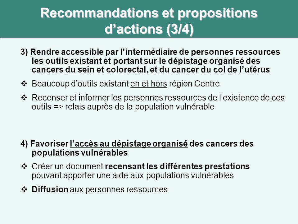 3) Rendre accessible par l'intermédiaire de personnes ressources les outils existant et portant sur le dépistage organisé des cancers du sein et colorectal, et du cancer du col de l'utérus  Beaucoup d'outils existant en et hors région Centre  Recenser et informer les personnes ressources de l'existence de ces outils => relais auprès de la population vulnérable Recommandations et propositions d'actions (3/4) 4) Favoriser l'accès au dépistage organisé des cancers des populations vulnérables  Créer un document recensant les différentes prestations pouvant apporter une aide aux populations vulnérables  Diffusion aux personnes ressources