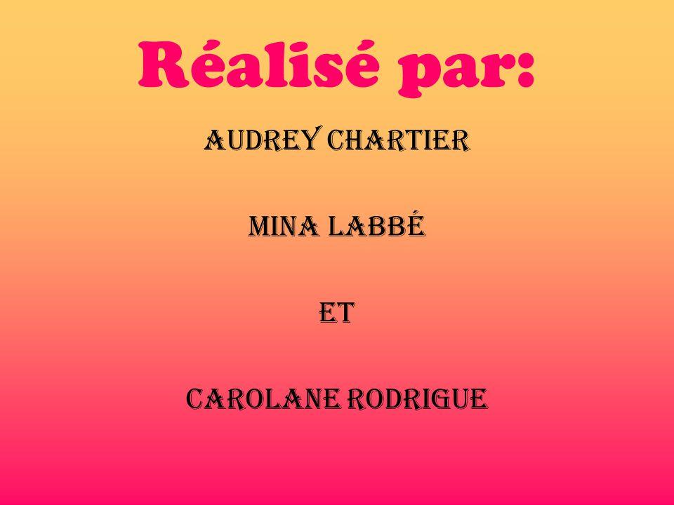 Réalisé par: Audrey Chartier Mina Labbé et Carolane Rodrigue