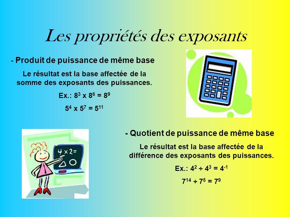 Les propriétés des exposants - Produit de puissance de même base Le résultat est la base affectée de la somme des exposants des puissances. Ex.: 8 3 x