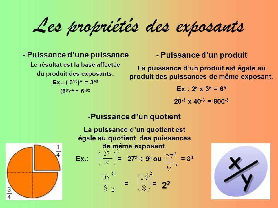 Les propriétés des exposants - Puissance d'une puissance Le résultat est la base affectée du produit des exposants. Ex.: ( 3 10 ) 4 = 3 40 (6 8 ) -4 =