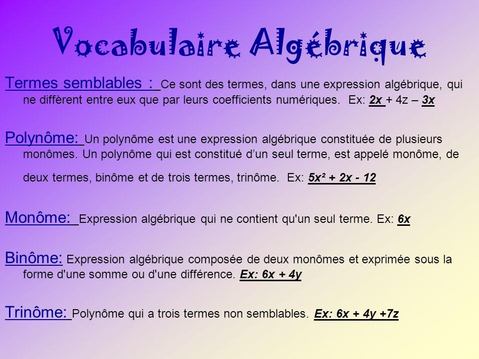 Vocabulaire Algébrique Termes semblables : Ce sont des termes, dans une expression algébrique, qui ne diffèrent entre eux que par leurs coefficients n