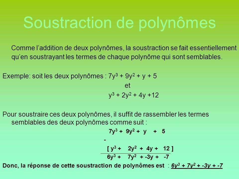 Soustraction de polynômes Comme l'addition de deux polynômes, la soustraction se fait essentiellement qu'en soustrayant les termes de chaque polynôme